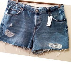 Topshop Moto Ashley Denim Shorts Vintage Midrise